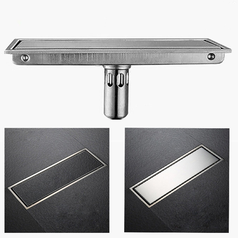 SUS304 Stainless Steel Invisible Bathroom Floor Drain Waste Grate Shower Drainer brushed stainless steel long bathroom floor drain waste great shower drainer rectangle floor waste drainer pop up drain