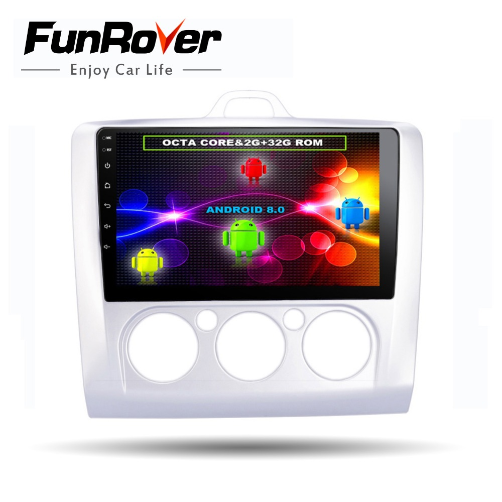 Funrover 98 cores Android 8.0 2 din Car dvd gps Player For Ford Focus 2 2004 2011 radio Autoradio Multimedia Stereo Head unit
