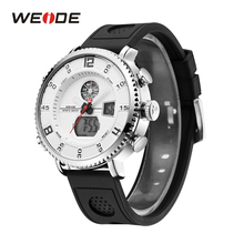WEIDE Men Watch Leather Band Sports Date Analog Alloy Military Quartz watch man watches mens 2019 relogios masculino weide wh1107 sports man s rubber band quartz analog digital waterproof wrist watch black