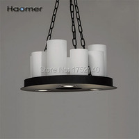 Beautiful circular LED chandelier D 50 cm, candlestick's shape. 8 E27 , 3 spotlight. Iron lamp, glass shade, retro style. Haomer