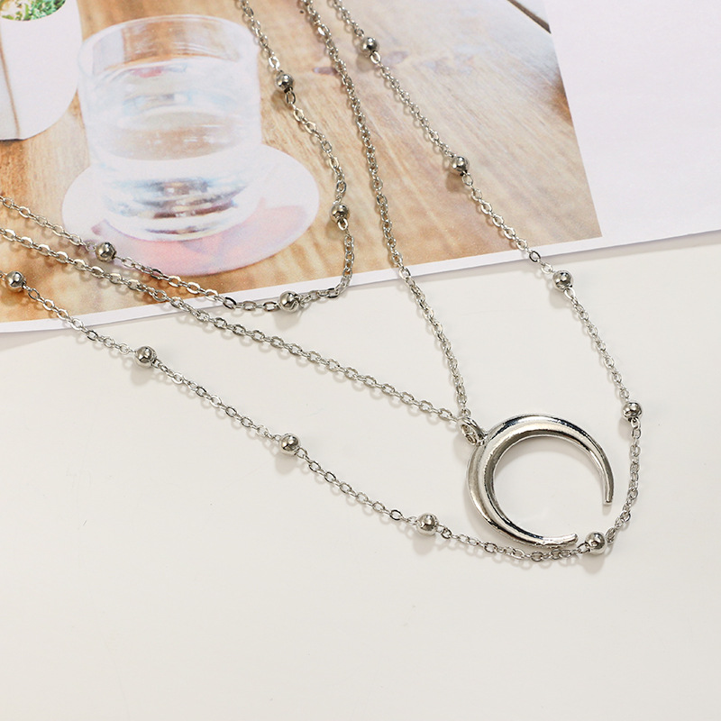 RscvonM New Fashion 3 Layers Chain Necklace Horn Necklace Crescent Moon Necklace Boho Jewelry Minimal Girlfriend Gift