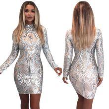 2018 النساء مثير عالية الرقبة الترتر اللباس الأنيق فستان سواريه بأكمام  طويلة خمر سليم البسيطة Bodycon اللباس ab5d4ce4b478