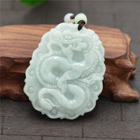 (Certificate)100% Natural Jadeite Jades Pendant Carved Chinese Dragon Pendants Women Men's Amulet Jades Jewelry+Beads Necklace