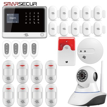 Smarsecur  IOS Android APP Control Wireless Home Security GSM SIM Card Alarm System Smoke Detector