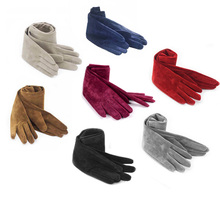 40cm(15.75) long fashion plain style real suede leather evening gloves red