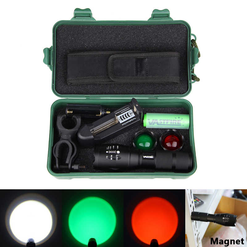 White Green Red Zoomable Focus 5000Lumen Tactical Flashlight XM-L T6 LED Adjustable Focus Torch Hunt Light High power lantern
