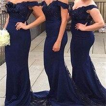 2018 Navy Blue Mermaid Bridesmaid Dresses Long V-Neck Formal Wedding Party Dress Short Sleeve Women Bridesmaid Dress