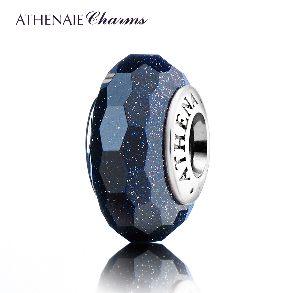 ATHENAIE Genuine Murano Glass 925 Silver Core Faceted Fascinating Charm Bead Fit European Bracelets Color Dark Blue