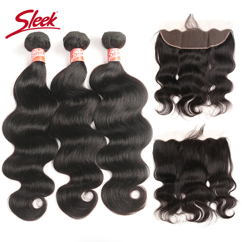 Sleek Malaysian Body Wave Lace Frontal Closure With Bundles Natural Color Non Remy Human Hair 3 Bundles With Frontal Closure