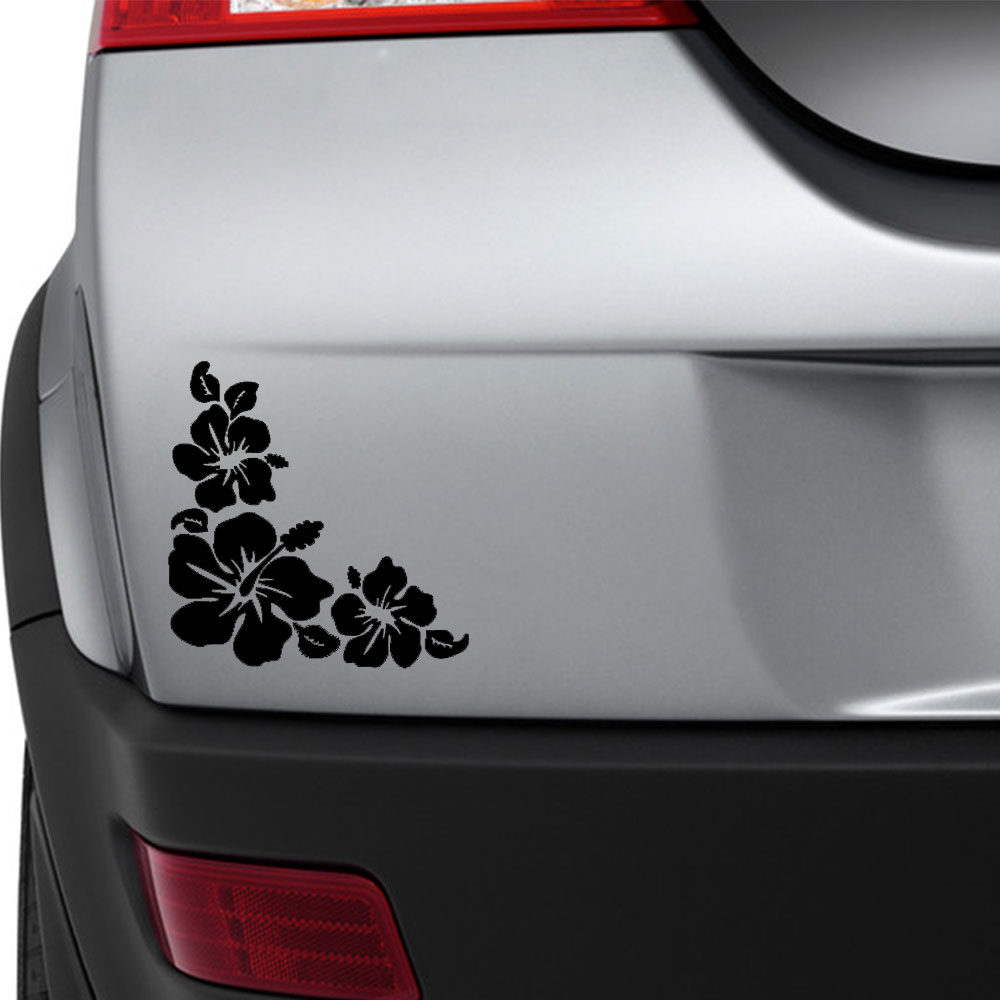 Sea Turtle Hibiscus Flower Car Truck Bumper Laptop Vinyl Sticker Window Decal