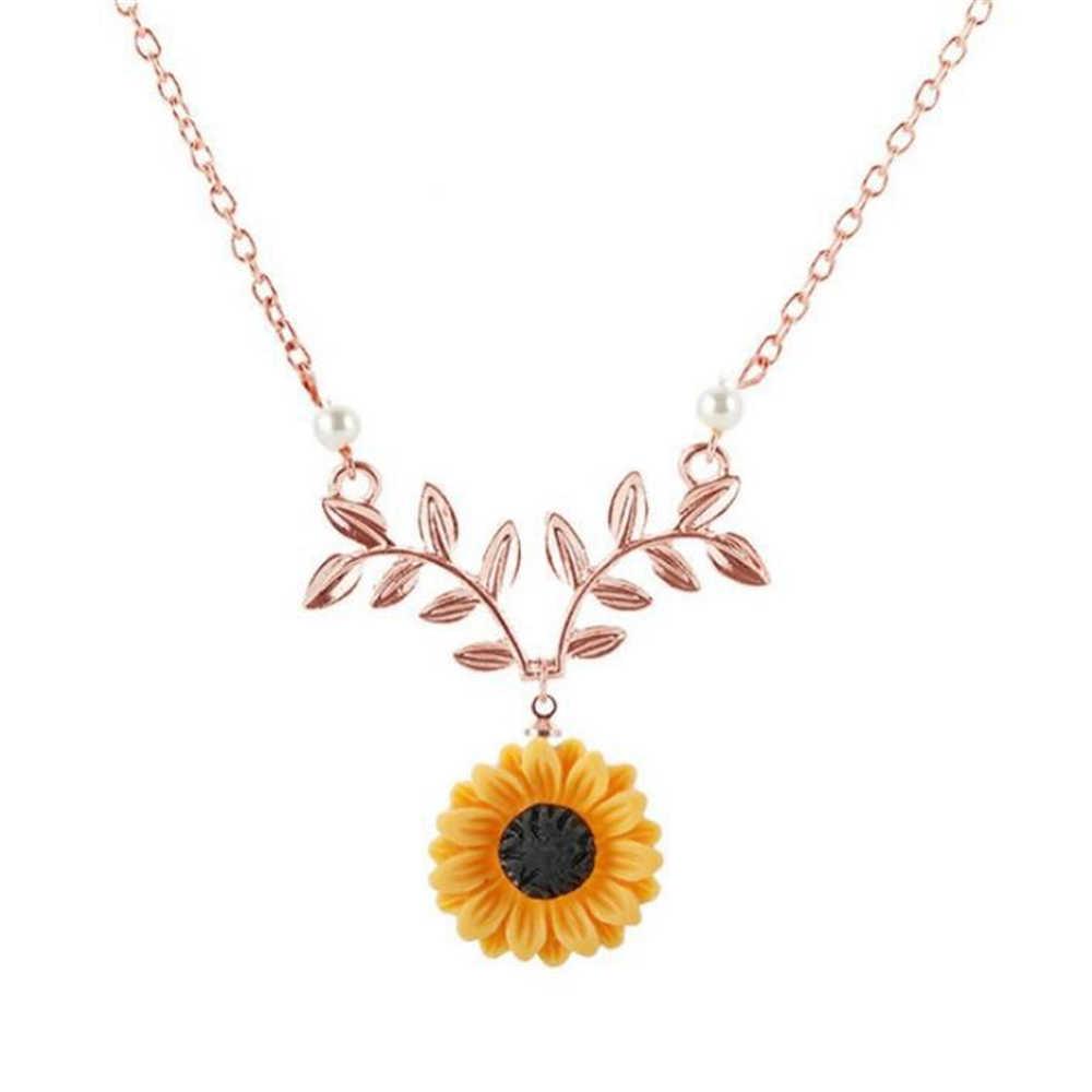 Gargantilha com pingente de girassol, delicado, para mulheres, criativo, imitação de pérolas, joia, colar, acessórios de roupas