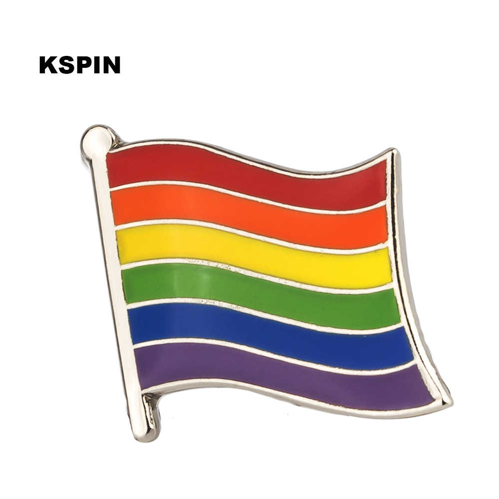 Gay Pride Rainbow 6 Warna Bendera Logam Lencana Di Ransel Set Bros Perhiasan Baju XY0323