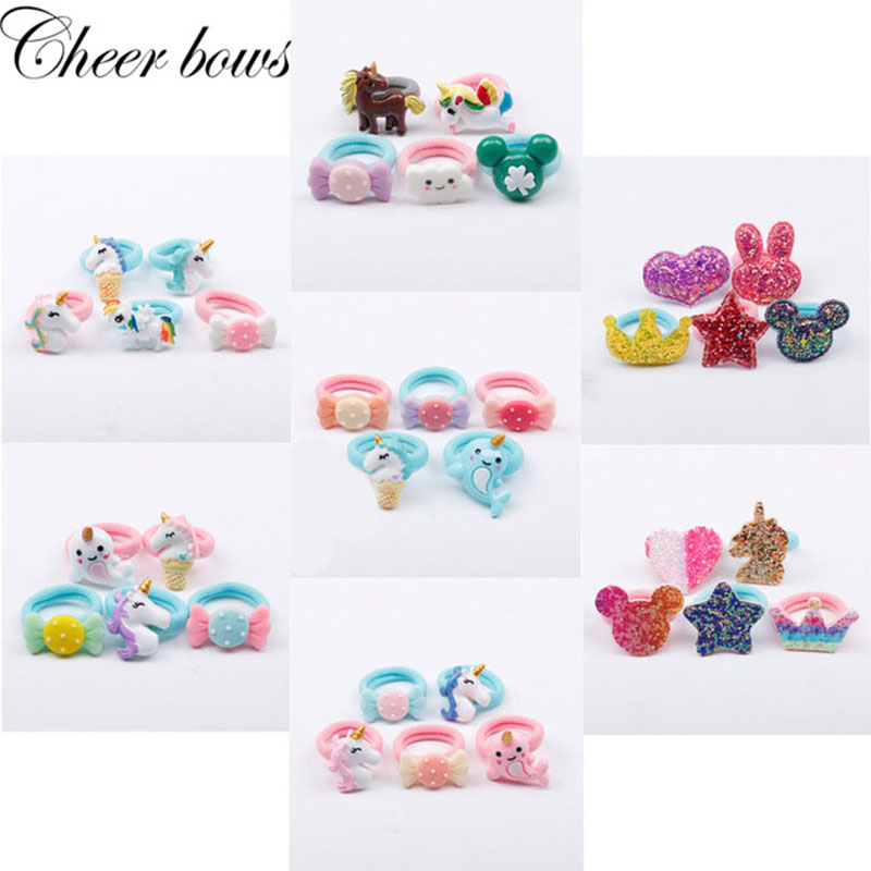 5pcs//lot Cartoon Unicorn Hair Rubber Band Cute Nylon Kids Hair Ropes Set