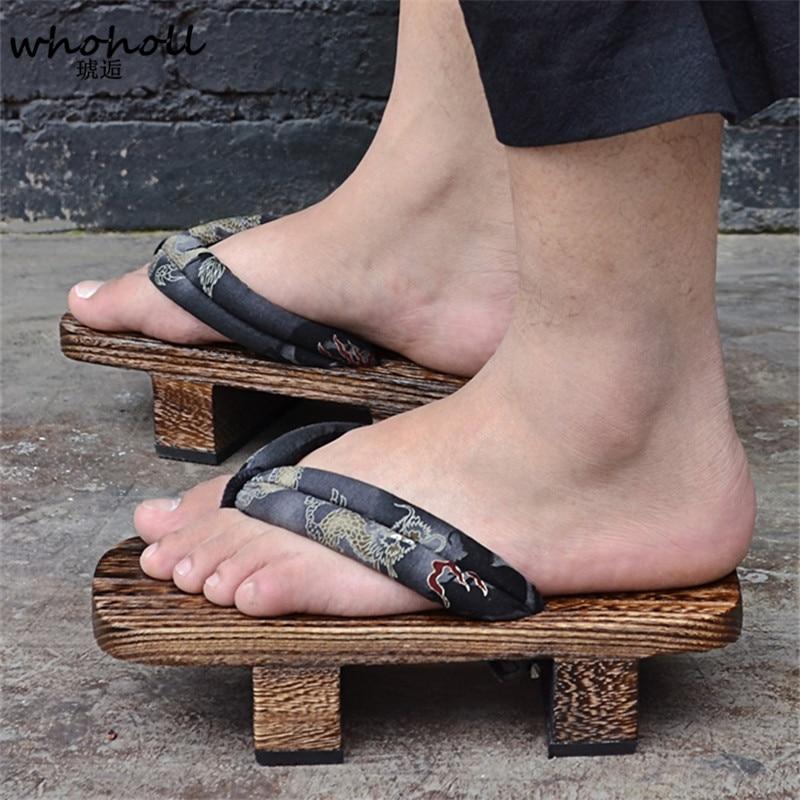 Men Universal Dragon Print Flat Flip-flops Clogs Kimono Cosplay Geta Sandals
