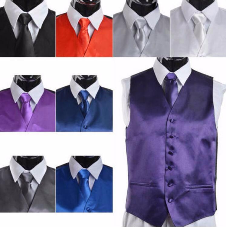 28-1  Men\'s Suit Tuxedo Dress Vest Necktie Bow Tie Handkerchief Set RL