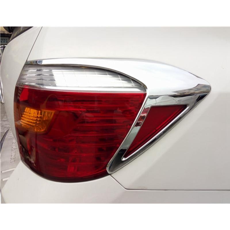 For Toyota Highlander 2009 2010 2011 Exterior ABS Chrome Rear Light Lamp Cover Taillight Trims Strips Frames