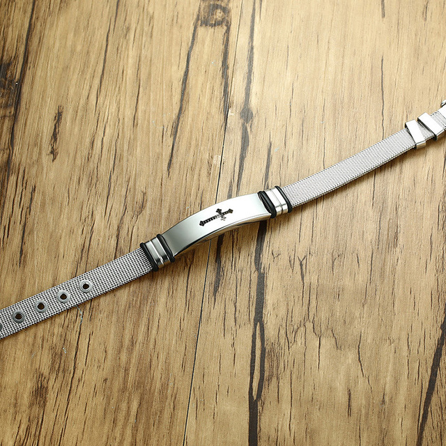 Купить мужской браслет из нержавеющей стали серебристый цвет регулируемый