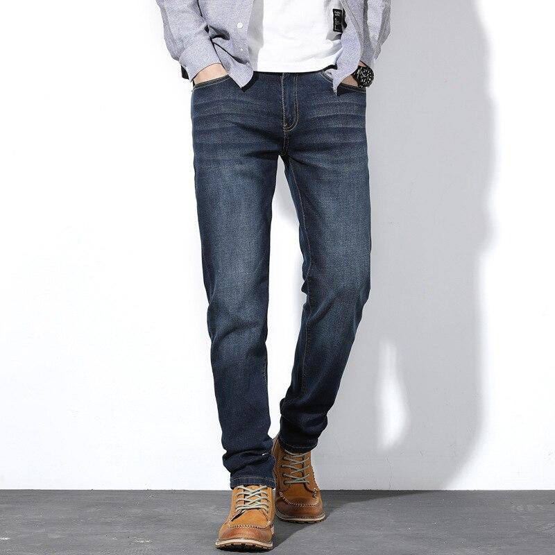Осень 2019, мужские джинсы, бизнес стиль, прямые, свободные, синие, стрейчевые, джинсы, классические, для мужчин, большие размеры 28 44, 46, 48