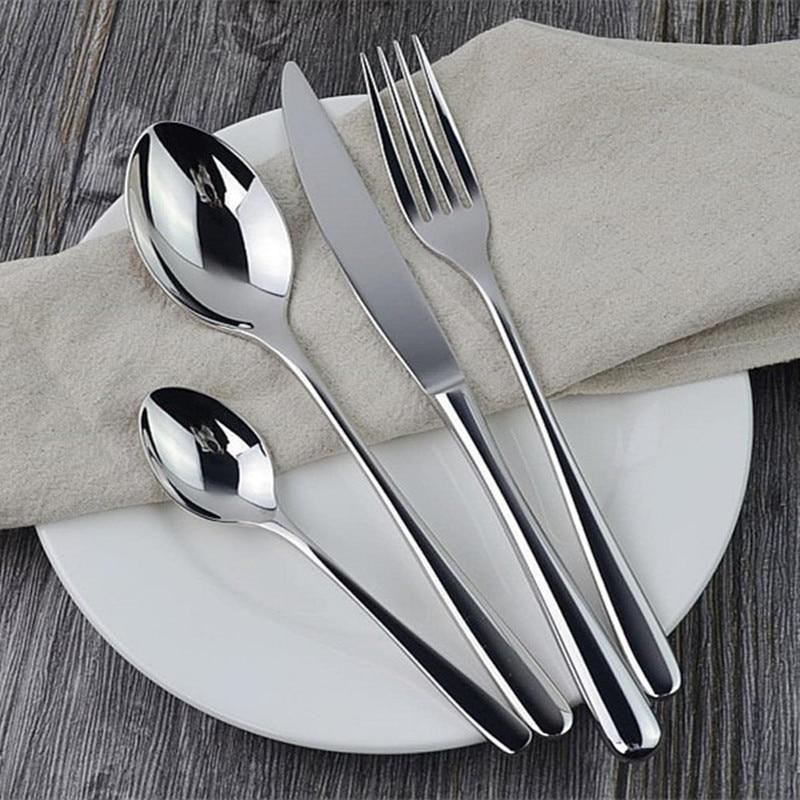24pcs Dinnerware Set Stainless Steel Luxury Cutlery Set Vintage Mirror Soild Tableware Wedding Knives Forks Dinnerset