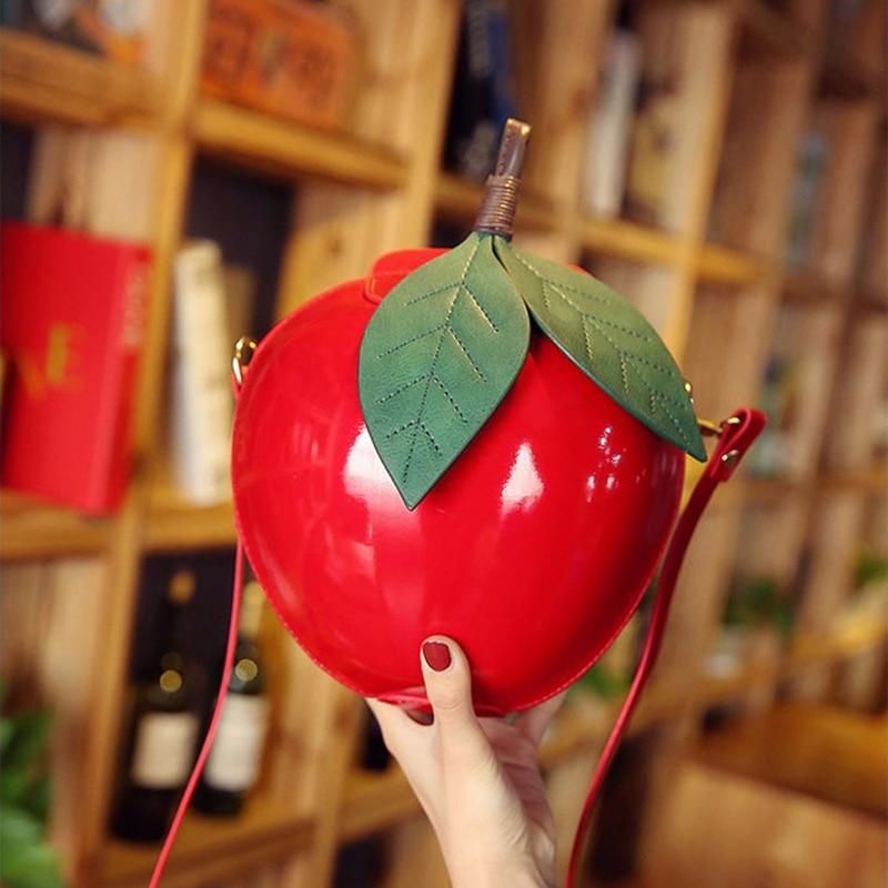 Women Leather Crossbody Bags Cute Red Green Apple Shaped Strap Shoulder Bag Females Clutch Handbag Mini Messenger Bags