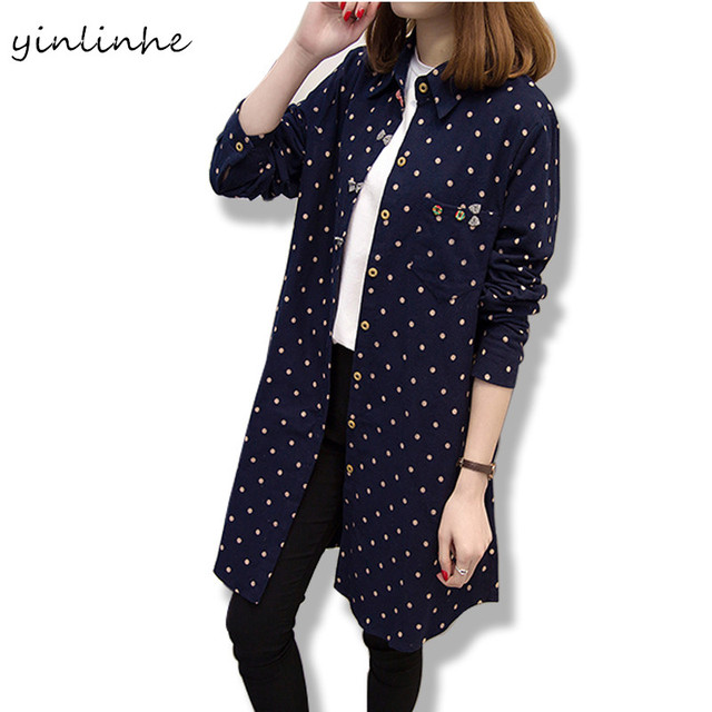 5XL Big Size Autumn Elegant Polka Dot Cotton Shirts Women Cute Warm Spring Ladies Blouses Clothes Big Size 4XL 198