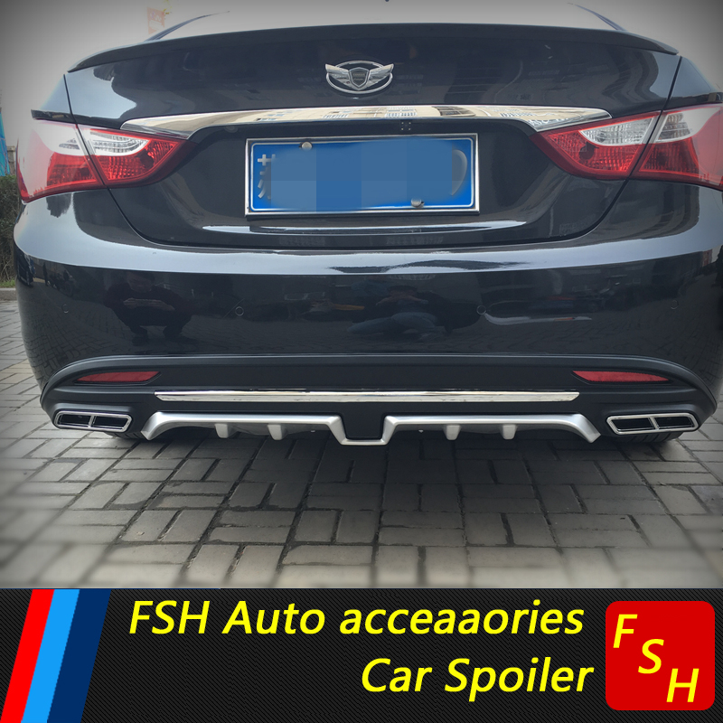 For Hyundai Sonata Rear spoiler ABS Rear Bumper Diffuser Bumpers Protector For Sonata forte Body kit bumper rear lip 2011-2014