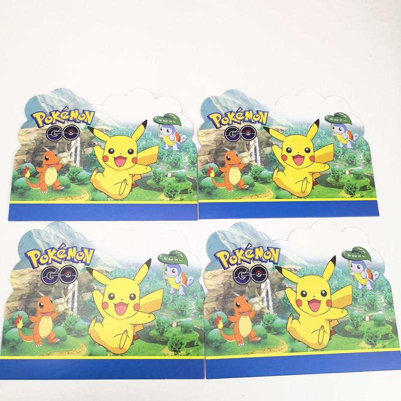 10 Stks 11*14 Cm Cartoon Pikachu Uitnodigingskaart Pokemon Gaan Thema Party Voor Kinderen Jongen Meisje Verjaardagsfeestje Levert Decoratie