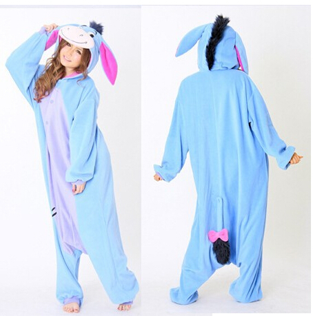 Women Men Winter Fleece Kawaii Cute Adult Animal Couples Onesie Pajamas Costume Donkey Eeyore Onesie