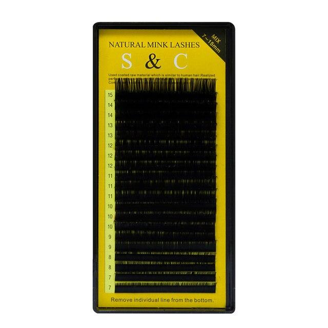 S & C Все размер, 1 случай, 7 ~ 15 мм MIX, 20 листов/лоток, норки наращивание ресниц, Накладные ресницы, Индивидуальные ресницы