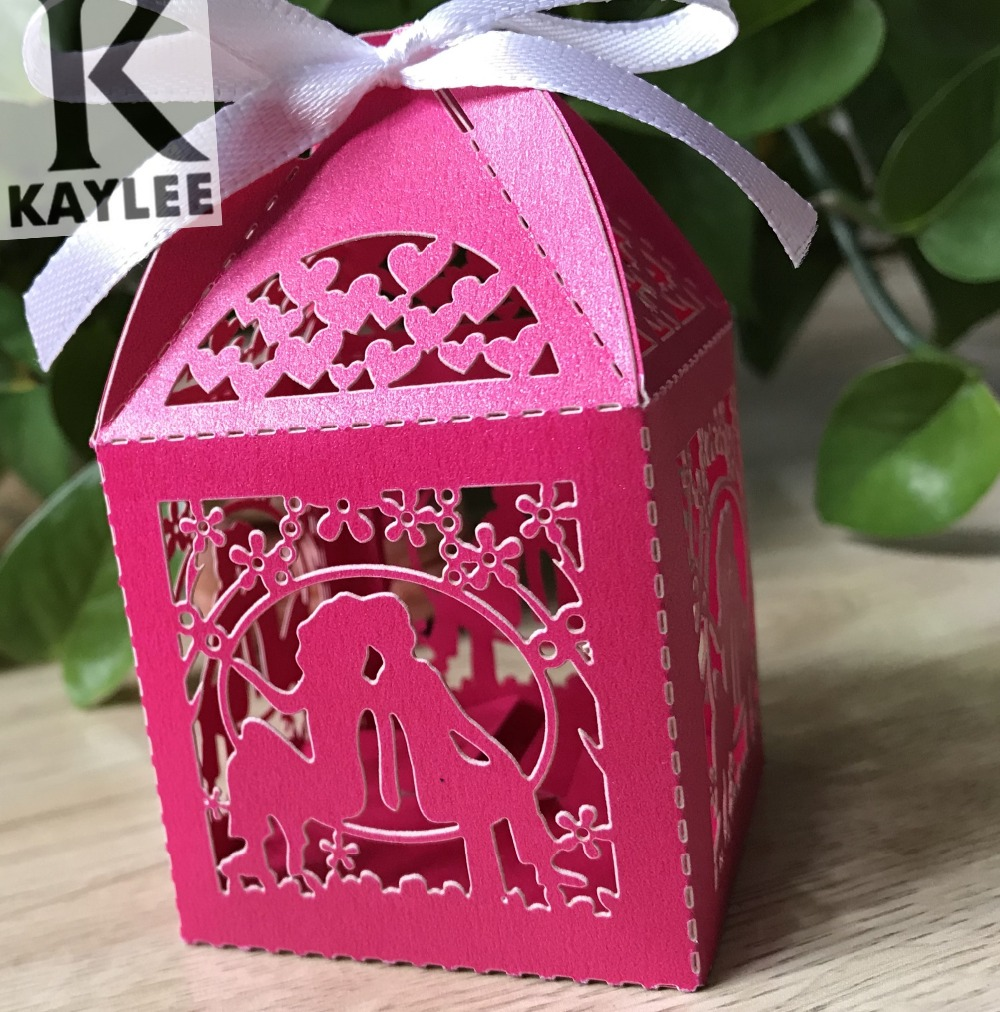 100pcs Laser Cut Lover Design Wedding Favor Boxes,Bomboniere Favour ...