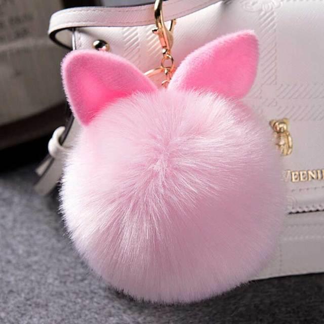 Faux Pink Rabbit Ear Keychain Pompom Fur Cartoon Ball KeyHolder Fluffy  Artificial Rabbit Fur Key Chain Women Car HandBag Keyring 1220c68d0