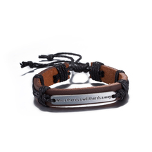 2017Design Letter Blessing Jewelry Accessories Dark Brown Hemp rope Wrap Unisex Bracelet Thick Leather Adjustable Bangle Jewelry