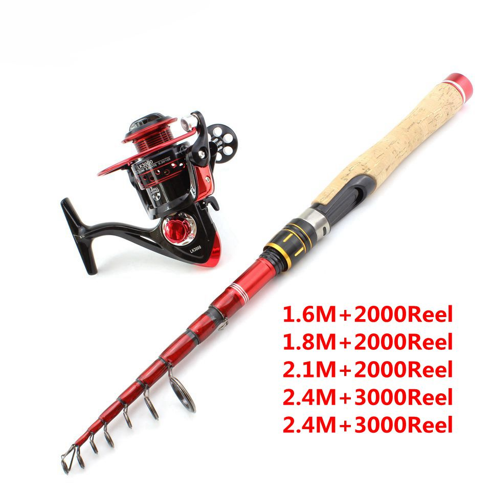 1 6M 2 7M wooden handle Carbon Fishing Rod Telescopic wooden handle Spinning Fishing Rod and Spinning Reels Multifunction set in Fishing Rods from Sports Entertainment