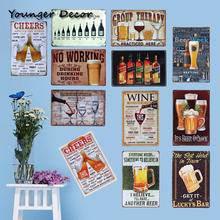 Cheeers And Drinking Wine From Beer Wall Poster 20 30cm Metal Signs Pub Bar Club Home Decorative Plaques Art Craft Ya061