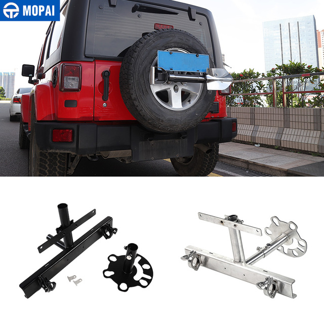 MOPAI Car Spare Tire Carrier Flag Pole Bracket Licence Plate Holder for Jeep Wrangler/Suzuki Jimny Off-road Vehicle Car Styling