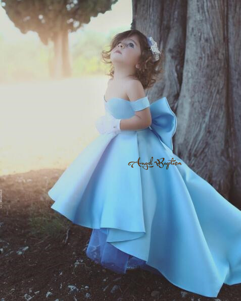 Light blue satin off the shoulder high low princess outfit for special event little kid girl graduation dress lace up with bow blue off the shoulder lace up front denim crop top