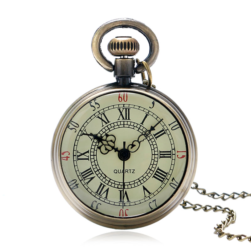 Fob Pocket Watches Vintage Antique Pocket Watch Open Face Roman Numbers Quartz Fob Watches Delicate Pendant Necklace Gift Smooth