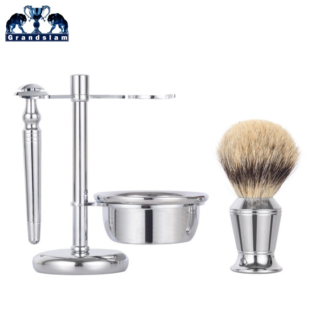 Grandslam 4 Piece Men Double Edge Safety Shaving Razor Kit Badger Hair Shaving Brush Shave Beard Soap Bowl Stand Holder Set grandslam 3pcs set man double edge safety razor shaving razor set long handle badger shaving brush stand holder wet shave tool
