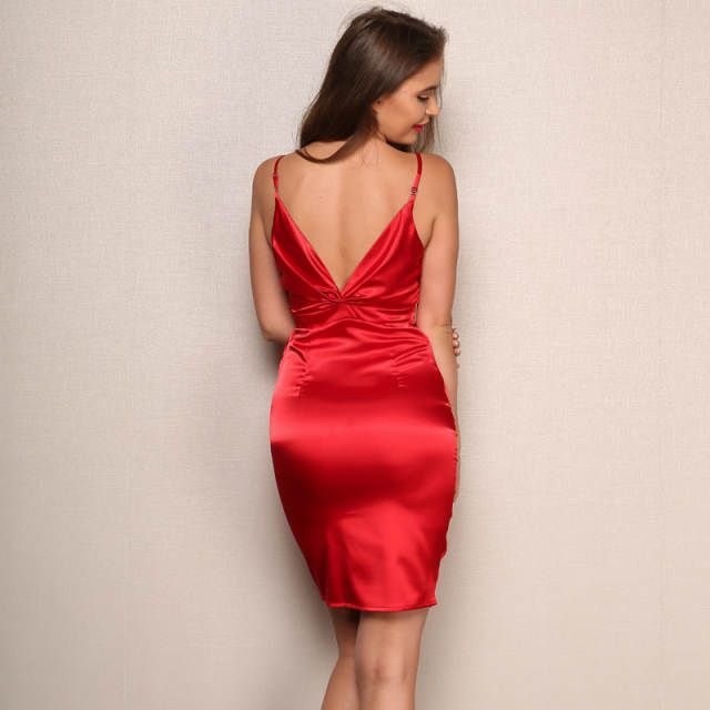 624bf98ca39a3 Yissang Satin Dress Sling Sexy Women Summer V Neck Pleated Bodycon Pencil  Dress Strap Above Knee Dresses Vestidos Drop Shipping