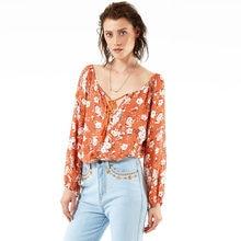 6d084338c23 Otoño Retro gasa blusas mujeres impresión Floral blusa correa v-cuello  manga larga camisa blusas mujer naranja