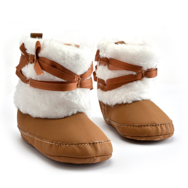 2016 New Baby Girls Boys Prewalker Anti-skid Winter Keep Warm Outdoor Big Bow Solid Infant Toddler Kids Boots Booties Shoes