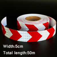 50mx5cm Red&White Arrow Reflective Strips Glue Stickers For Car Styling Motorcycle Automobiles Decoration Safety Warning Tape