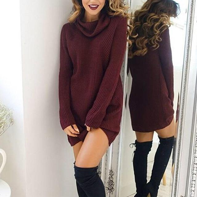 d00e561a94e Women Sweater Dress 2017 Fall Winter Sexy Dress Long Sleeve High Collar  Long Sleeve Sweater Skirt