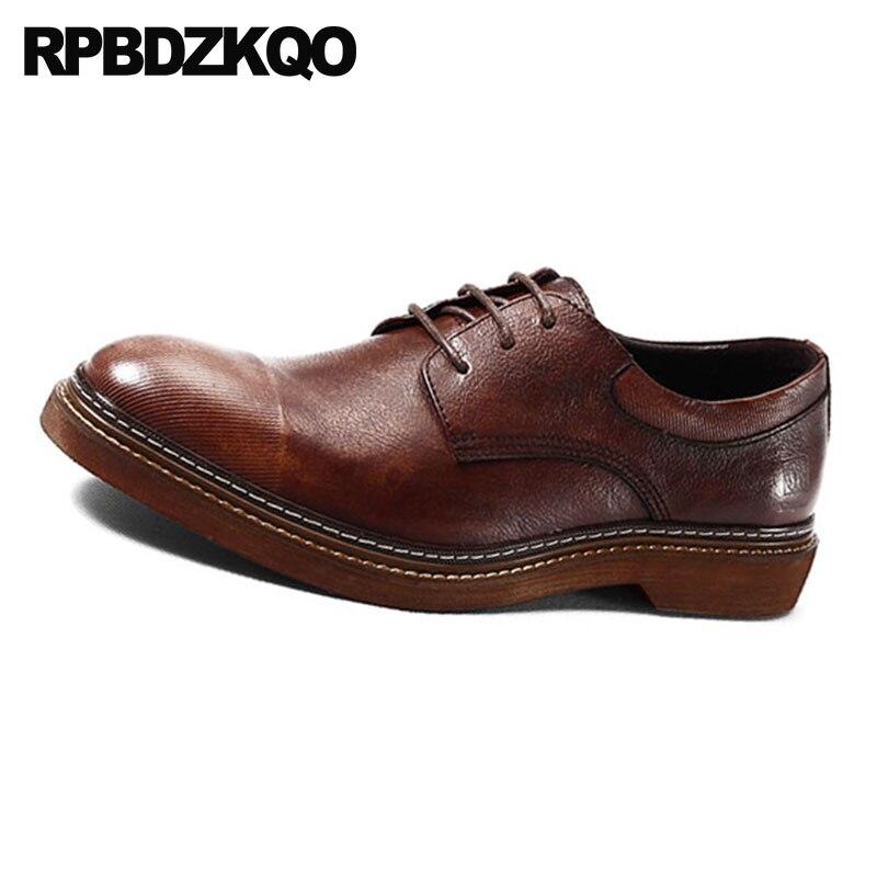 Mano Cuero Runway De marrón Ocasionales Negocios Hombres Negro Oxfords Del Marca Hechos Oficina Vestido Primavera Europea A Italiana Brown Negro Genuino Zapatos qgE7f6