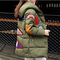 The New Labeling Winter Patch Long Section Slim Stylish Hooded Warm Thick Padded Cotton Jacket Women Female A011