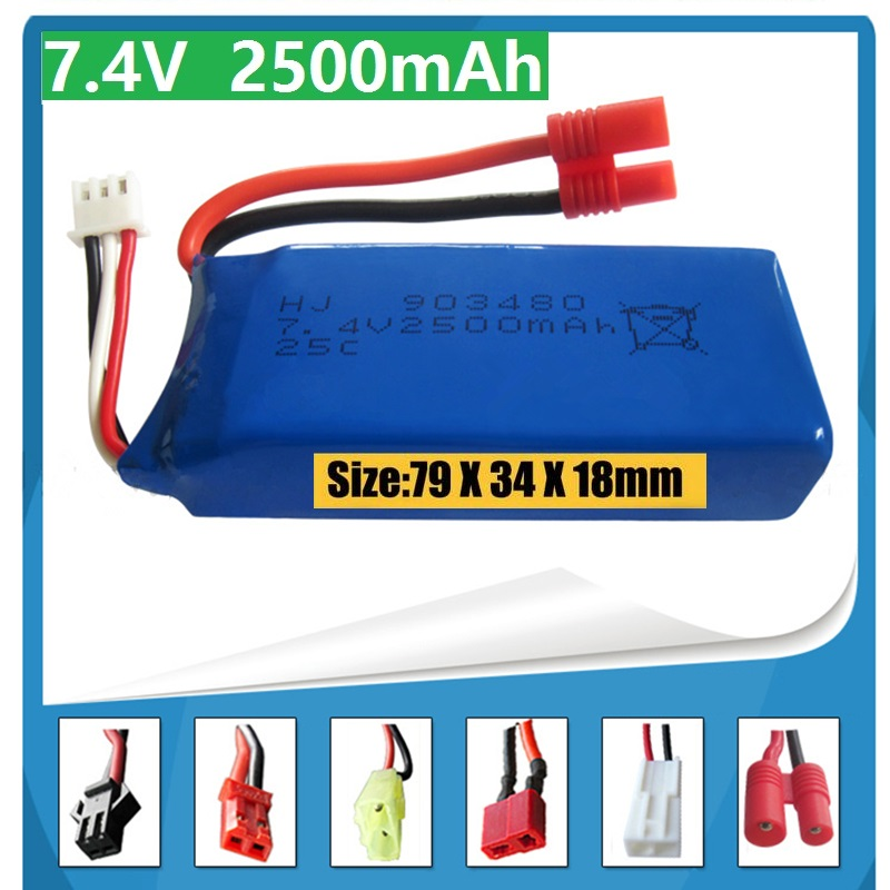 New big battery 2500mAh 2S 7.4V 25C Lipo Battery Helicopter Battery Syma X8 X8W X8G with voltage protection board 1pcs free shipping lipo battery 3 7v 200mah 20c helicopter x4 x11 x13 high endurance high precision low voltage protection board