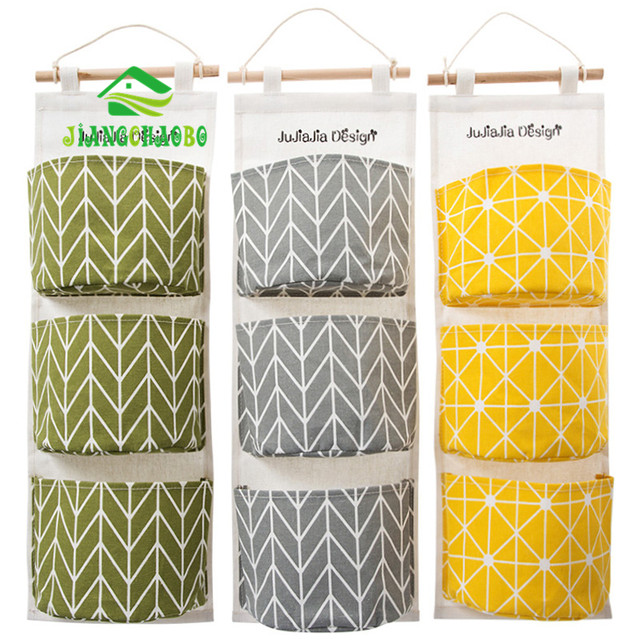 3 Color Cotton Fabric Wall Hanging Storage Bag For Organizer Sundry Storage  Pocket For Decoration Kitchen Bathroom Living Room