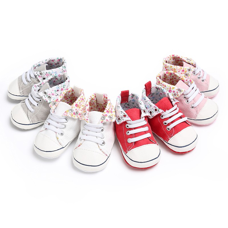 Newborn Baby Kids Shoes Crib Floral Classic Casual Infant Toddler High Top Lace-Up Sports Sneakers Spring Autumn Boots