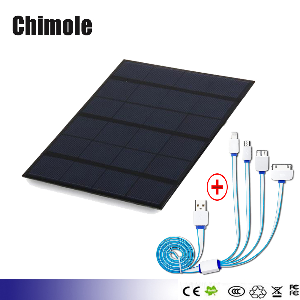 Portable USB Solar Panel Battery Charger 5V 3.5W Solar Cell Power Bank for Smartphone 18650 Battery With 1 to 4 USB Cable