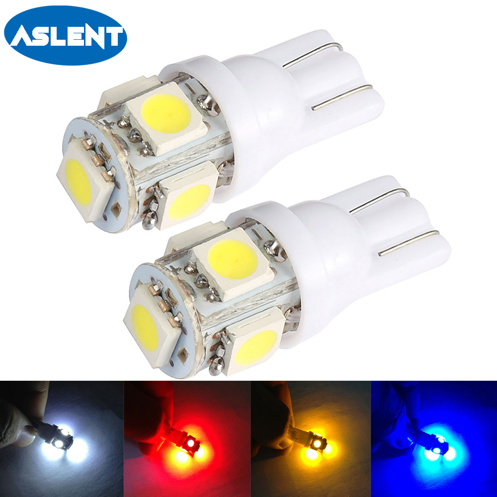 Aslent 2PCS T10 194 168 w5w Led Car Lights 5050 5smd Super White Red Yellow Bulb Parking Auto Wedge Clearance Read Lampada